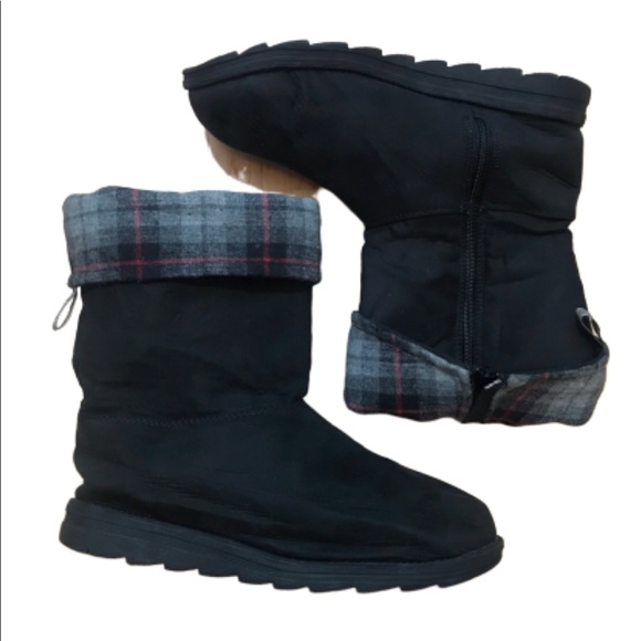 Muk Luks Shoes - Muk Luks Black Boots with Fold over Plaid